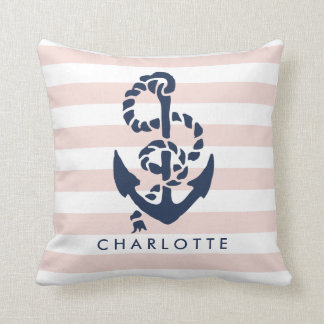 Rope & Anchor Pink Stripe Nautical Personalized Throw Pillow