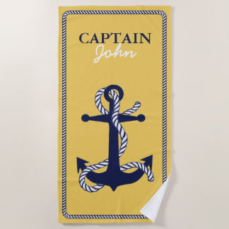 Rope and Anchor Navy Captain ID402 Beach Towel