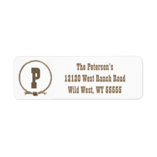 Rope circle western monogram address labels