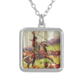 Rope 'em cowboy silver plated necklace