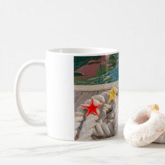 rope for mooring with two sea starfish on  mug