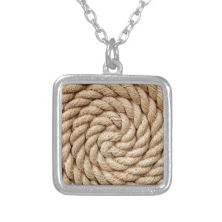 rope, target circle design round mark silver plated necklace