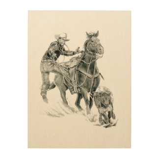 Roping and Riding at the Rodeo Wood Print