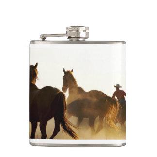 roping cowboy flask