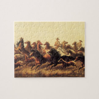 Roping Wild Horses by James Walker Jigsaw Puzzle