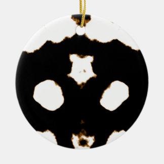 Rorschach Test of an Ink Blot Card in Black Round Ceramic Ornament