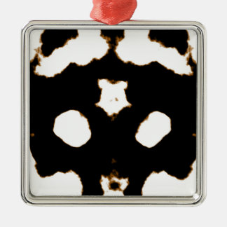Rorschach Test of an Ink Blot Card in Black Silver-Colored Square Ornament
