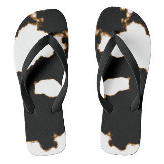 Rorschach Test of an Ink Blot Card on White Flip Flops