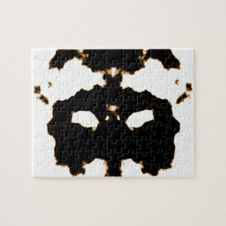Rorschach Test of an Ink Blot Card on White Jigsaw Puzzle