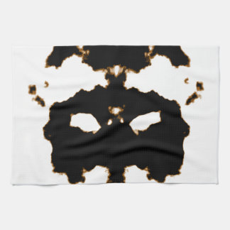 Rorschach Test of an Ink Blot Card on White Kitchen Towel