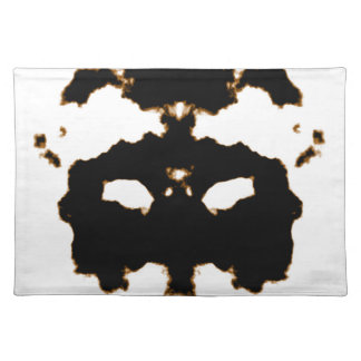 Rorschach Test of an Ink Blot Card on White Placemat