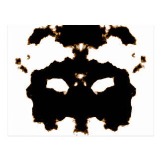 Rorschach Test of an Ink Blot Card on White Postcard
