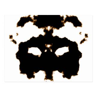 Rorschach Test of an Ink Blot Card on White Postcard