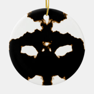 Rorschach Test of an Ink Blot Card on White Round Ceramic Ornament