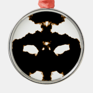 Rorschach Test of an Ink Blot Card on White Silver-Colored Round Ornament