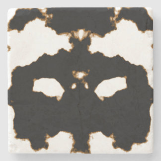 Rorschach Test of an Ink Blot Card on White Stone Coaster