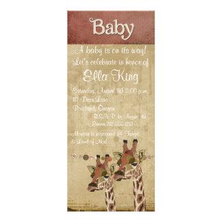 Rosa Bronze & Blue  Giraffes Baby Invitation
