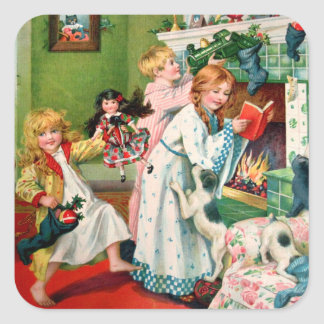 Rosa C. Petherick: Christmas Morning Square Sticker