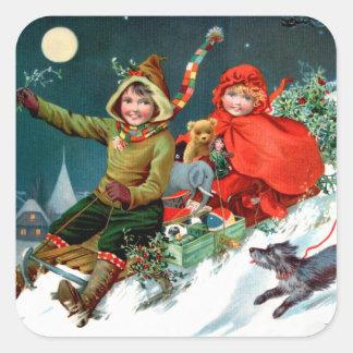 Rosa C. Petherick: Christmas Shopping Square Sticker