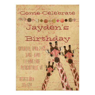 Rosa Copper Giraffes Birthday Invitation