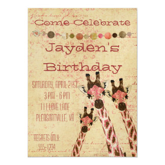 Rosa & Copper Giraffes  Birthday Invitation