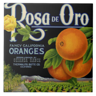 Rosa de Oro Orange Crate Label Tile