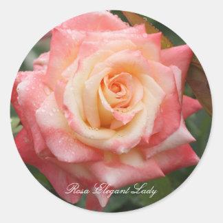 Rosa Elegant Lady Round Sticker