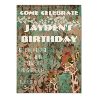 Rosa Giraffes Damask  Birthday Invitation