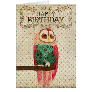 Rosa Owl Birthday  Card