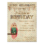 "Rosa Owl Birthday Invitation 5.5"" X 7.5"" Invitation Card"