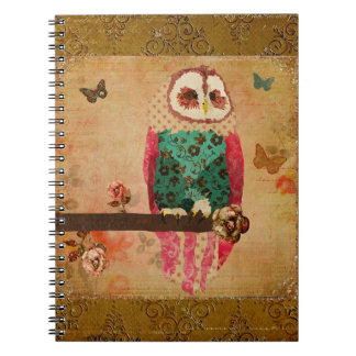 Rosa Owl Gold Notebook