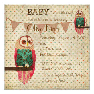 Rosa Owl Polkadot Baby Shower Invitation