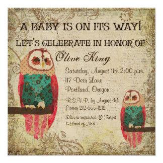 Rosa Owls Shabby Chic Baby Shower Invitation