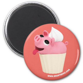 Rosa the Pig are a cup cake Magnet