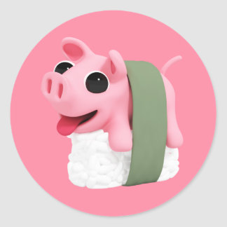 Rosa the Pig are a sushi Classic Round Sticker