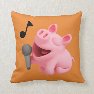 Rosa the Pig does Karaoke Throw Pillow