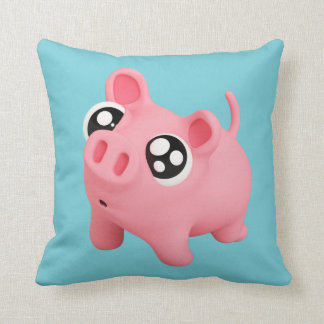 Rosa the Pig puppy Eyes Throw Pillow