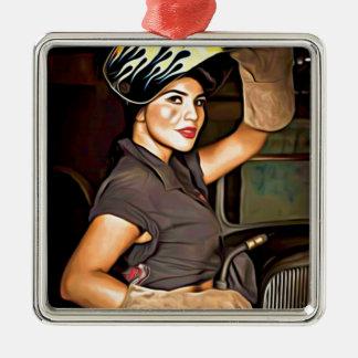 Rosa-the-welder Metal Ornament