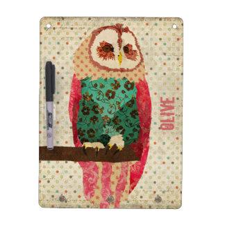 Rosa Vintage Owl Dry Erase Board