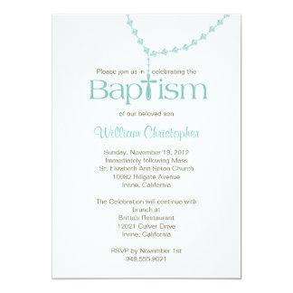 Rosary Beads Baptism Invitation for Boy