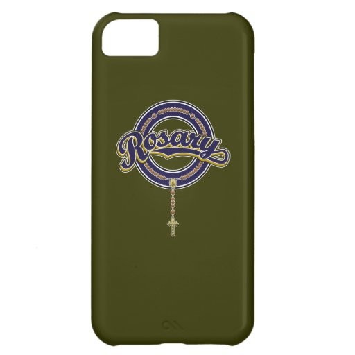 Rosary Circle Script Logo Blue on Blue iPhone 5C Cases