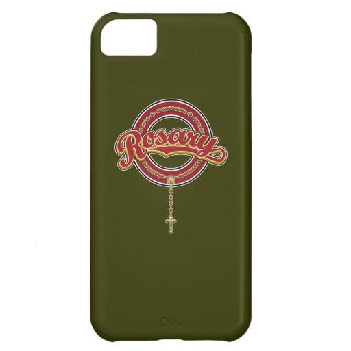 Rosary Circle Script Logo Red on Red iPhone 5C Covers