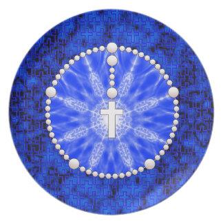 Rosary Dream Catcher Blue Dinner Plate
