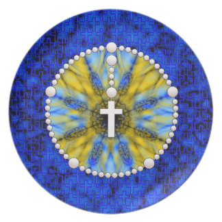 Rosary Dream Catcher Blue & Yellow Plate