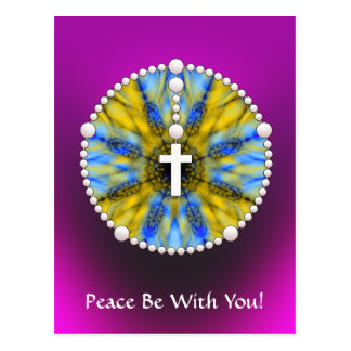 Rosary Dream Catcher Blue & Yellow Postcard