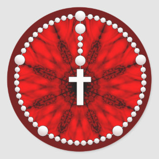 Rosary Dream Catcher Red Classic Round Sticker