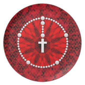 Rosary Dream Catcher Red Dinner Plate