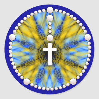 Rosary Dream Catcher Yellow & Blue Classic Round Sticker