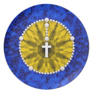 Rosary Dream Catcher Yellow Dinner Plate