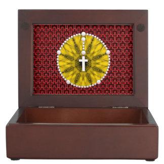 Rosary Dream Catcher Yellow Keepsake Boxes